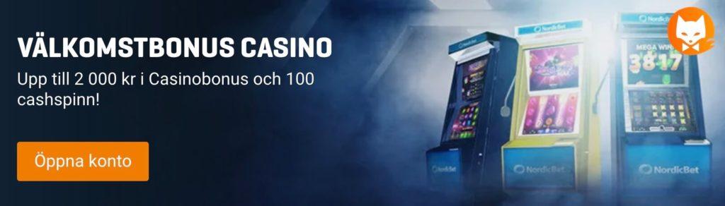 Nordicbets casino välkomstbonus