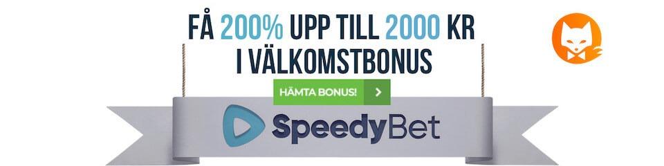 Speedybet 200% bonus upp till 2000kr