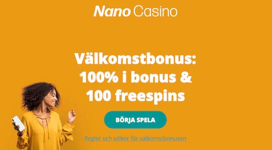 Nano Casino erbjuder 100% bonus och 100 freespins