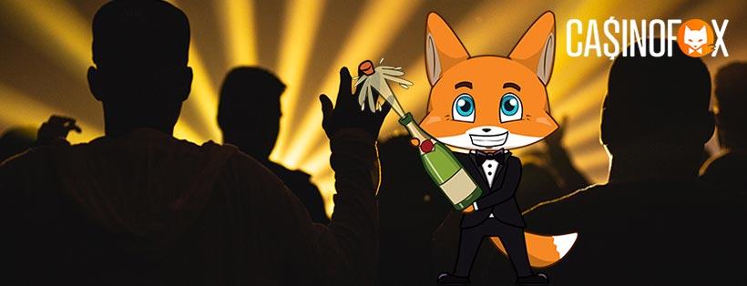 Konsert med casinofox maskot firandes i förgrunden