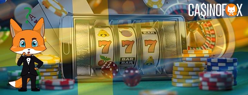 Slots och svenska flaggan med Casinofox mascot