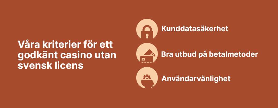Kriterier för ett godkänt casino utan svensk licens banner