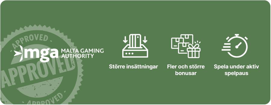 Fördelar med MGA casinon utan svensk licens banner